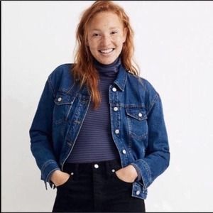 NWT Madewell The Boxy Crop Denim Jacket Quilted Edition S
